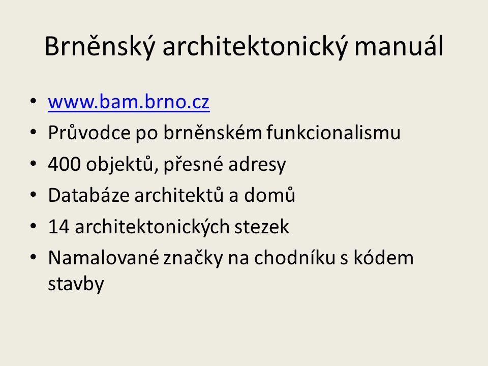 Brněnský architektonický manuál www.bam.brno.cz Průvodce po brněnském funkcionalismu 400 objektů, přesné adresy Databáze architektů a domů 14 architek