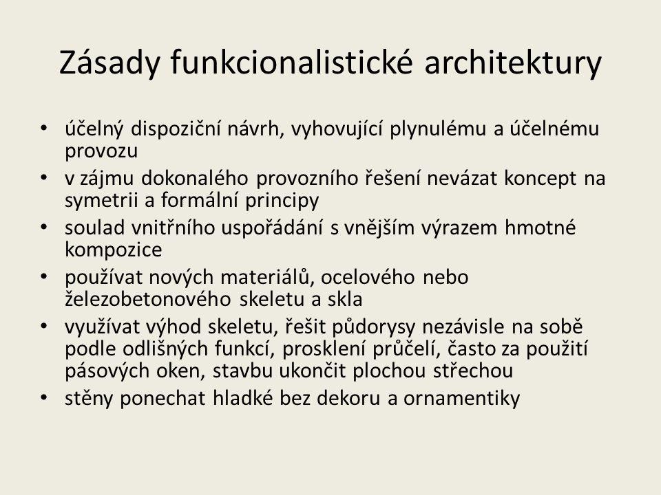 Zásady funkcionalistické architektury účelný dispoziční návrh, vyhovující plynulému a účelnému provozu v zájmu dokonalého provozního řešení nevázat ko