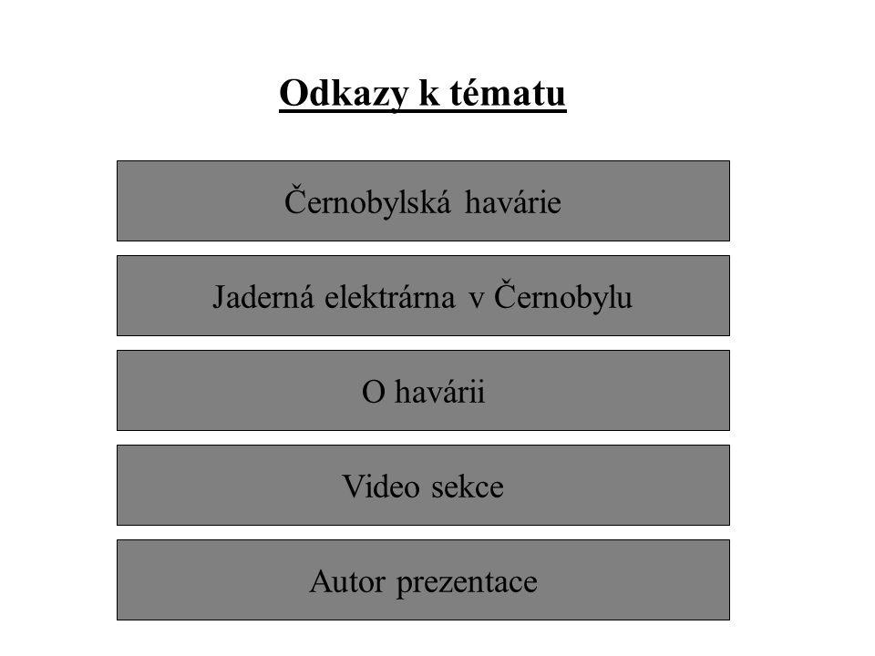 Odkazy k tématu Černobylská havárie Jaderná elektrárna v Černobylu O havárii Autor prezentace Video sekce