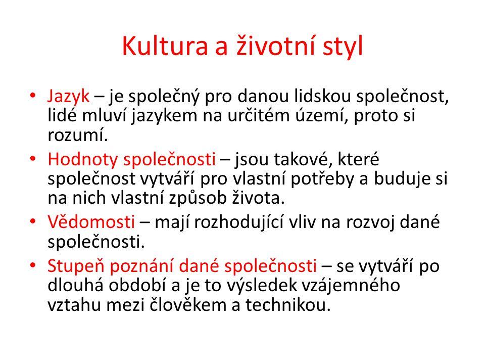 Kultura a životní styl Jazyk – je společný pro danou lidskou společnost, lidé mluví jazykem na určitém území, proto si rozumí. Hodnoty společnosti – j