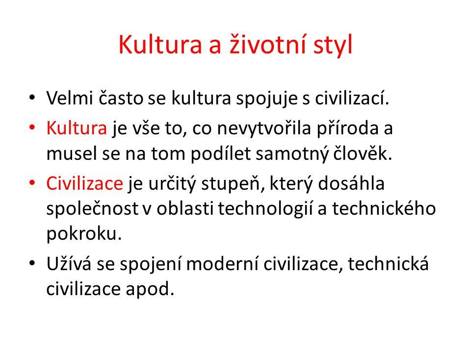 Kultura a životní styl Velmi často se kultura spojuje s civilizací. Kultura je vše to, co nevytvořila příroda a musel se na tom podílet samotný člověk