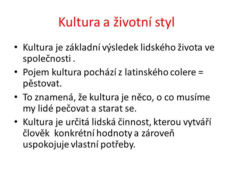 Kultura a životní styl Kultura je základní výsledek lidského života ve společnosti. Pojem kultura pochází z latinského colere = pěstovat. To znamená,