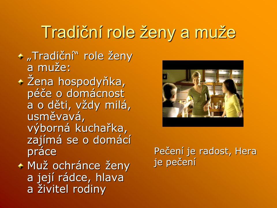 """Tradiční role ženy a muže """"Tradiční role ženy a muže: Žena hospodyňka, péče o domácnost a o děti, vždy milá, usměvavá, výborná kuchařka, zajímá se o domácí práce Muž ochránce ženy a její rádce, hlava a živitel rodiny Pečení je radost, Hera je pečení"""