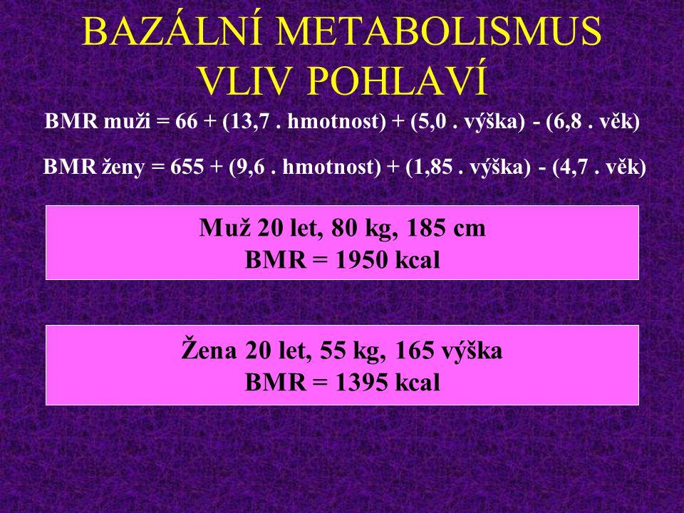 BAZÁLNÍ METABOLISMUS (BMR) Dospělý muž asi 40 kcal/m 2 /hod (tzn.