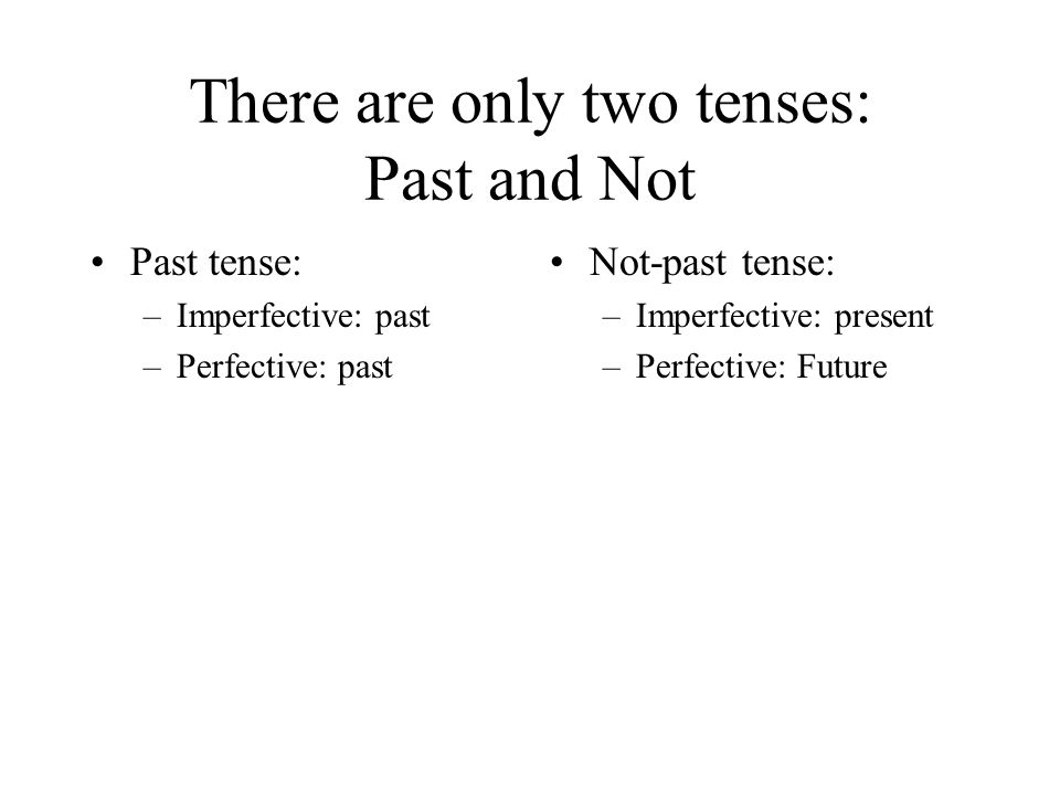 There are only two tenses: Past and Not Past tense: –Imperfective: past –Perfective: past Not-past tense: –Imperfective: present –Perfective: Future