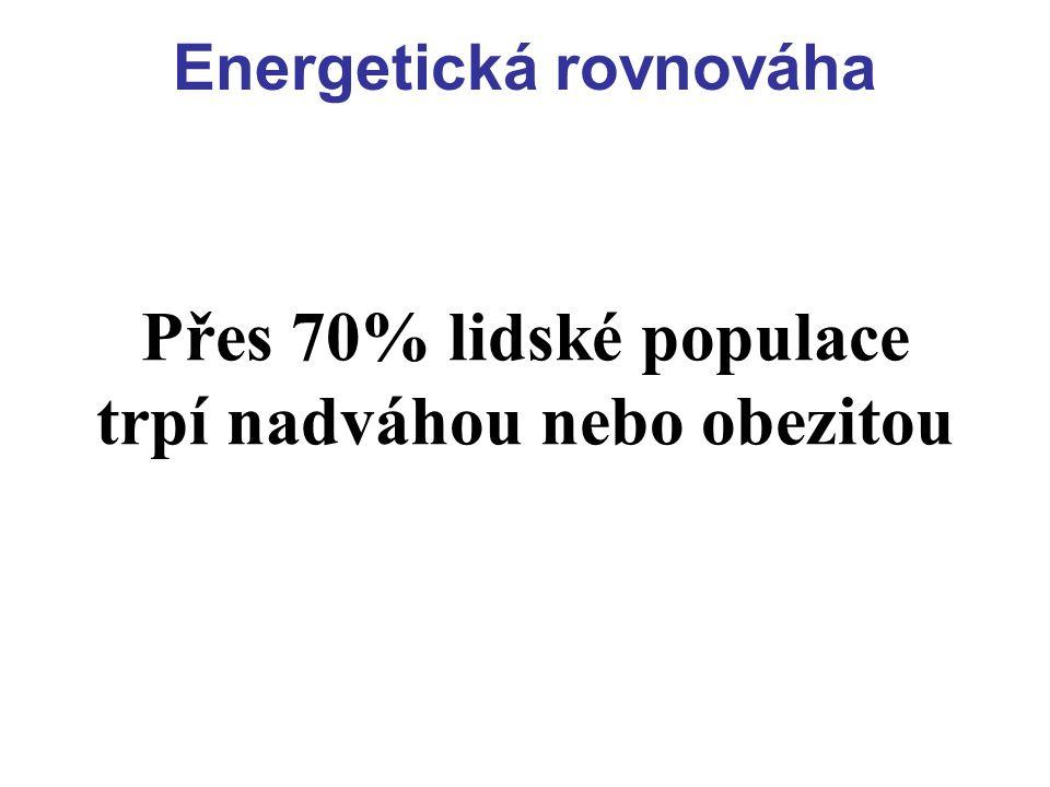 Energetická rovnováha Rovnováha mezi energetickým příjmem a výdejem Při negativní energetické bilanci se spotřebovávají vnitřní zásoby katabolizují se glykogen, proteiny a tuk = = HUBNUTÍ Při pozitivní energetické bilanci (příjem převažuje nad výdejem) = = TLOUSTNUTÍ