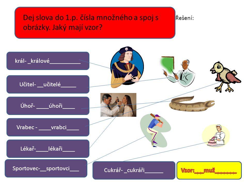 Dej slova do 1.p. čísla množného a spoj s obrázky. Jaký mají vzor? král- _králové__________ Cukrář- _cukráři______ Učitel- __učitelé_____ Úhoř- ____úh