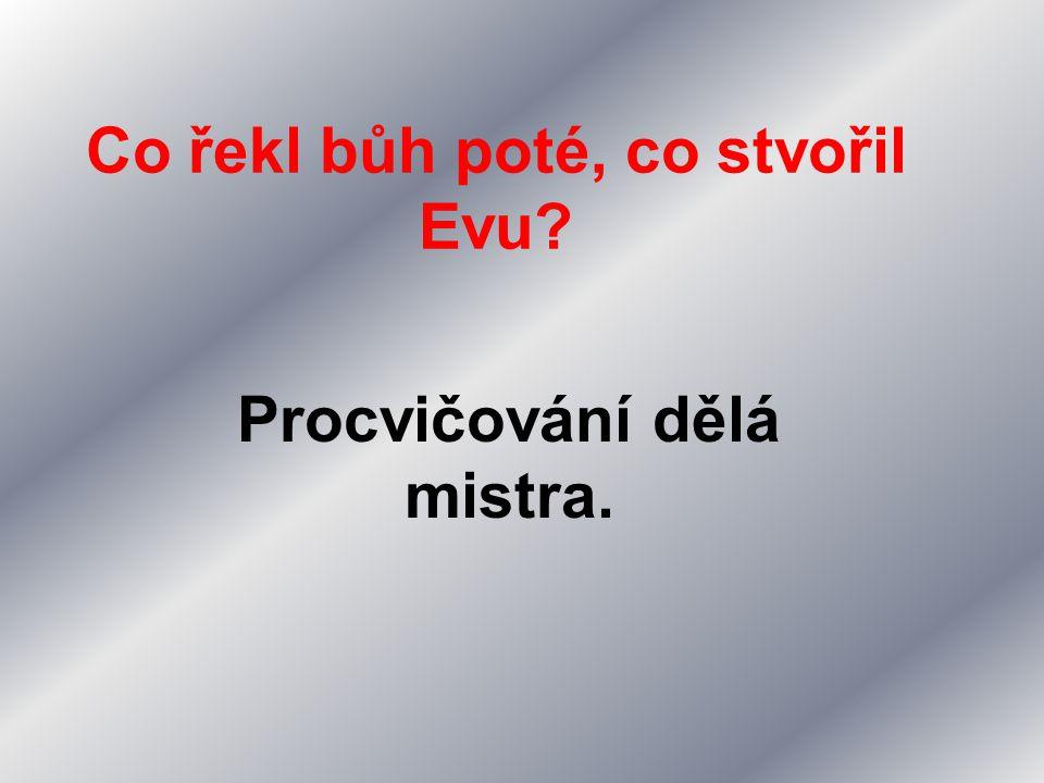 Co řekl bůh poté, co stvořil Evu? Procvičování dělá mistra.