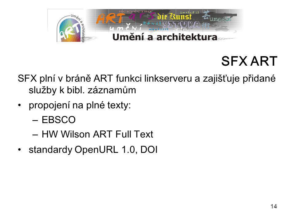 14 SFX ART SFX plní v bráně ART funkci linkserveru a zajišťuje přidané služby k bibl. záznamům propojení na plné texty: – EBSCO – HW Wilson ART Full T