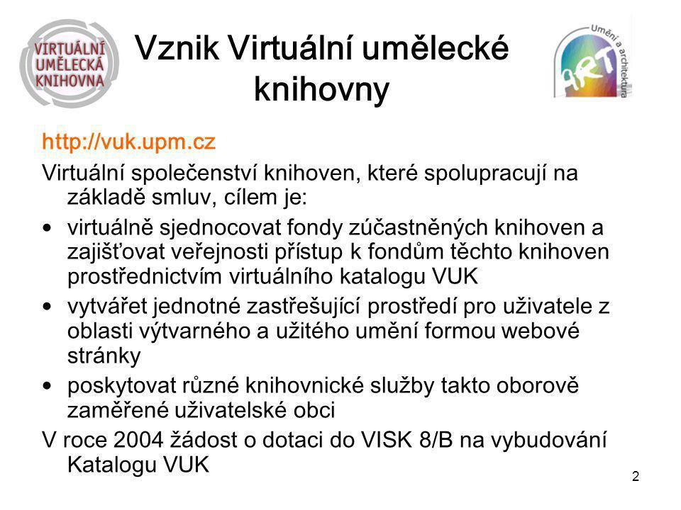 2 Vznik Virtuální umělecké knihovny http://vuk.upm.cz Virtuální společenství knihoven, které spolupracují na základě smluv, cílem je: virtuálně sjedno