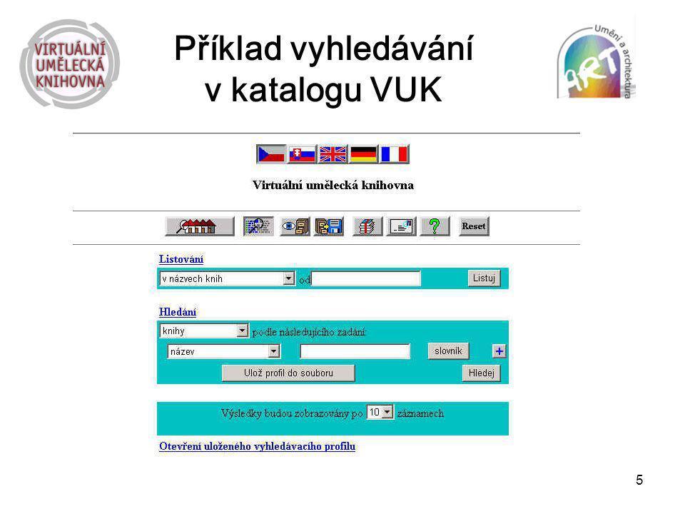5 Příklad vyhledávání v katalogu VUK