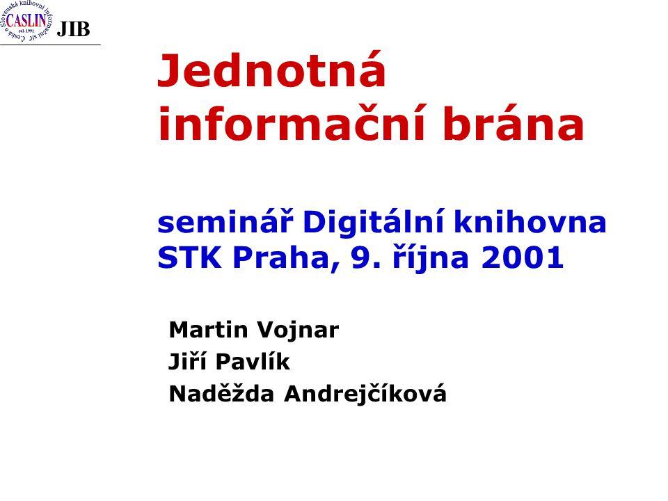 JIB Jednotná informační brána seminář Digitální knihovna STK Praha, 9.