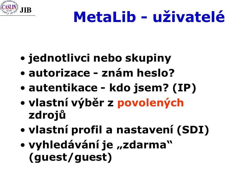 JIB MetaLib - uživatelé jednotlivci nebo skupiny autorizace - znám heslo.