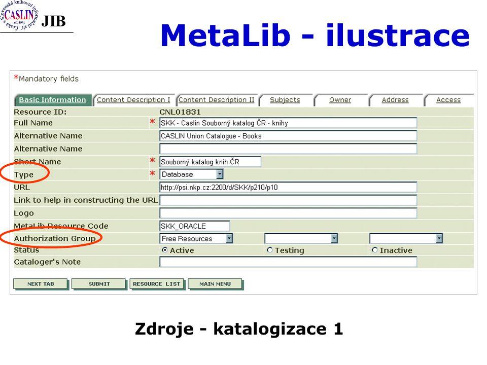 JIB MetaLib - ilustrace Zdroje - katalogizace 1