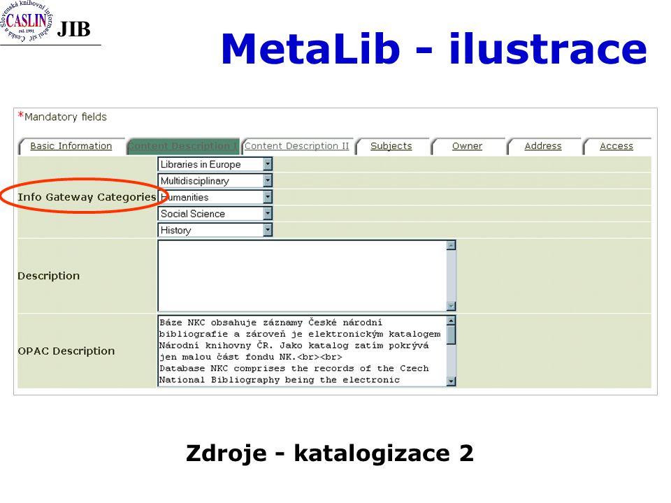 JIB MetaLib - ilustrace Zdroje - katalogizace 2