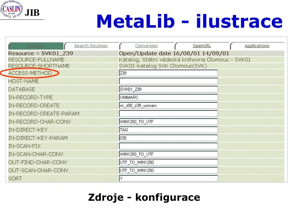 JIB MetaLib - ilustrace Zdroje - konfigurace