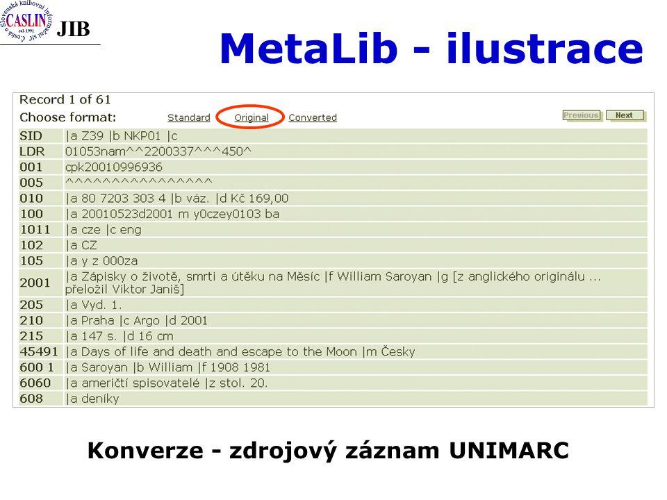 JIB MetaLib - ilustrace Konverze - zdrojový záznam UNIMARC