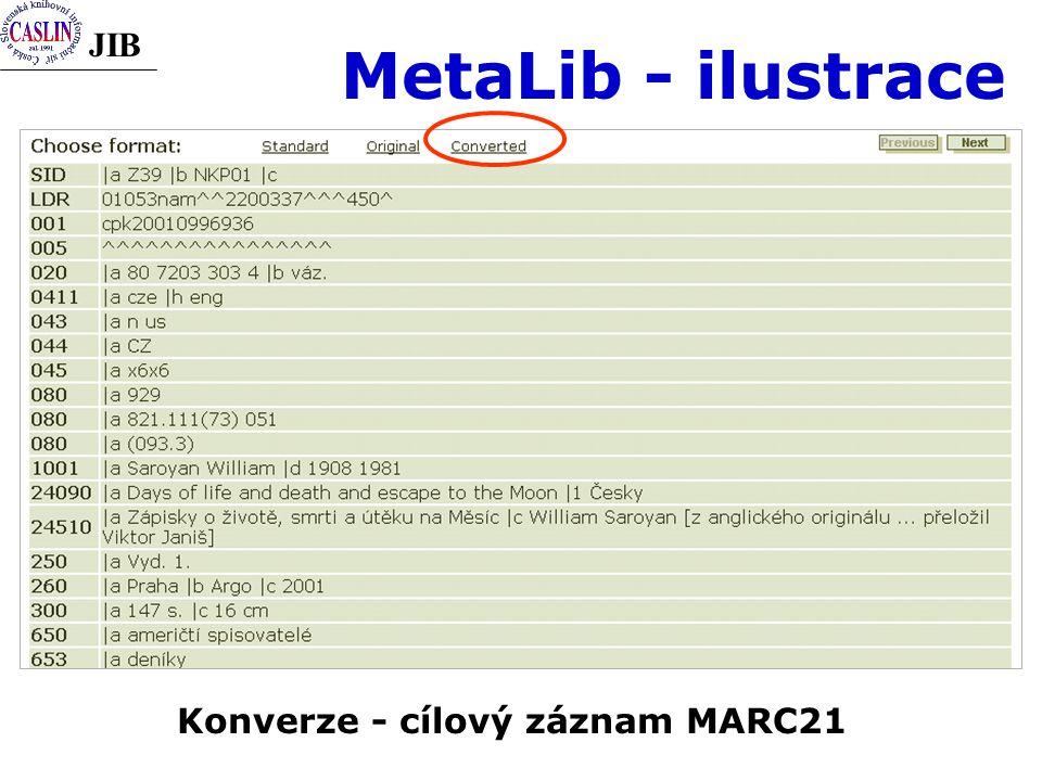 JIB MetaLib - ilustrace Konverze - cílový záznam MARC21