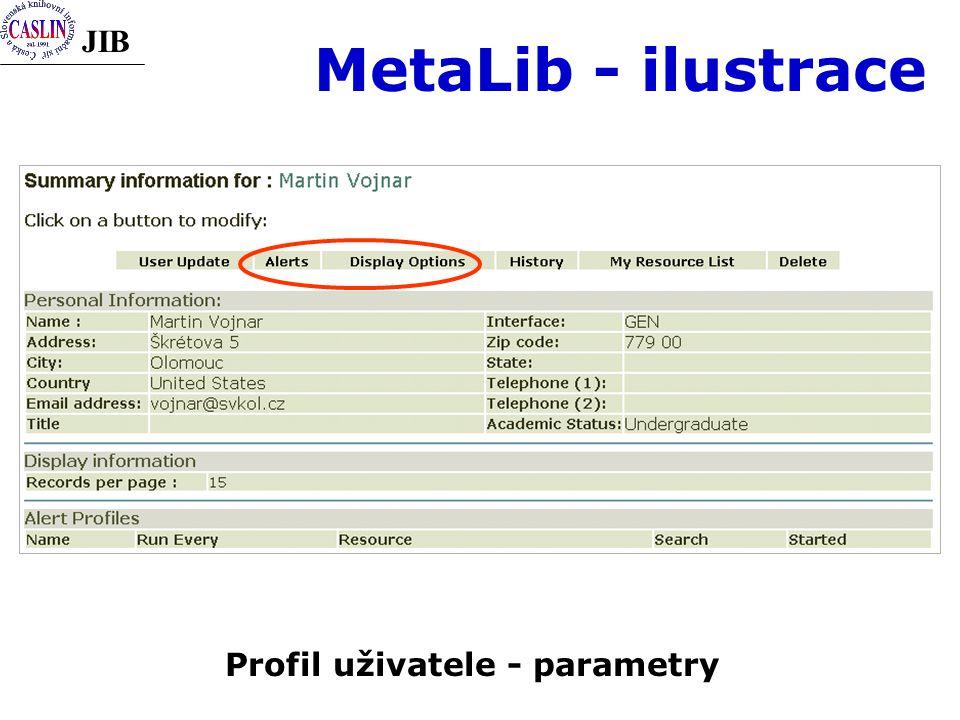 JIB MetaLib - ilustrace Profil uživatele - parametry