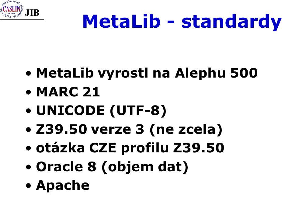 JIB MetaLib - standardy MetaLib vyrostl na Alephu 500 MARC 21 UNICODE (UTF-8) Z39.50 verze 3 (ne zcela) otázka CZE profilu Z39.50 Oracle 8 (objem dat) Apache