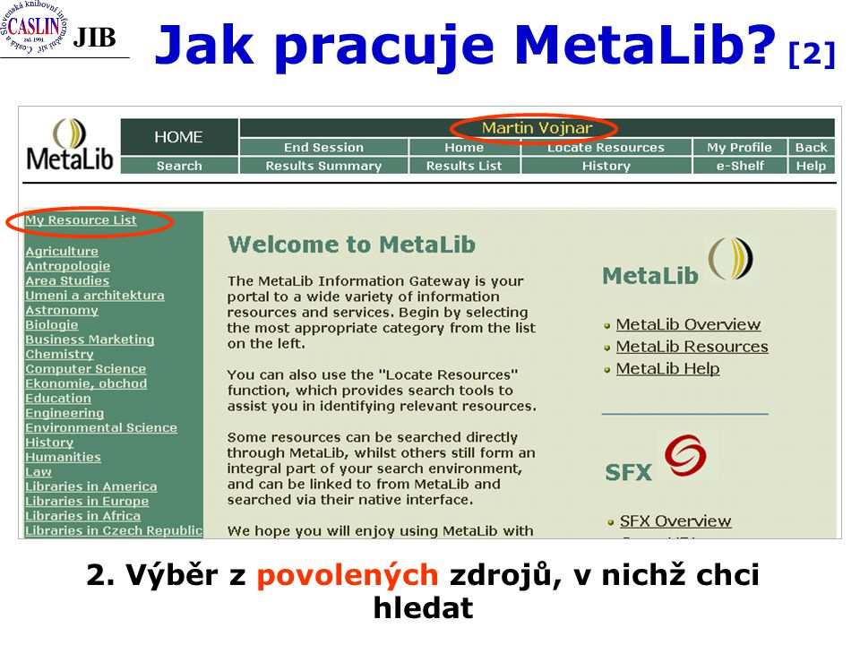 JIB 2. Výběr z povolených zdrojů, v nichž chci hledat Jak pracuje MetaLib [2]