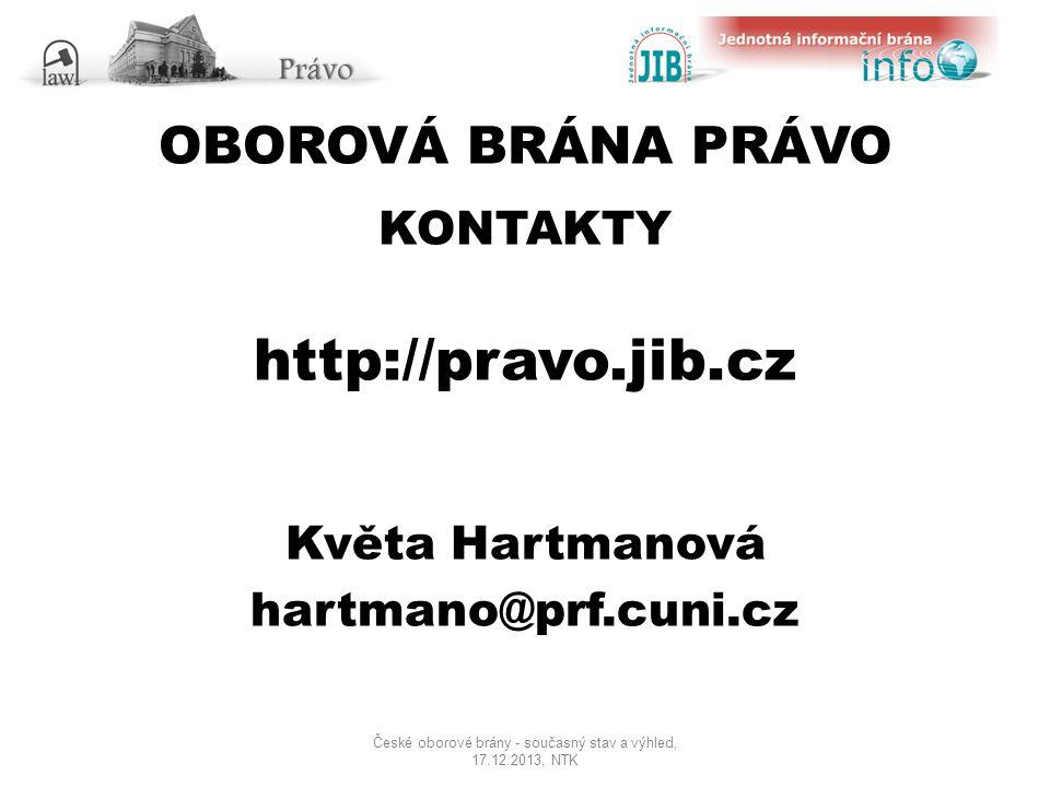 OBOROVÁ BRÁNA PRÁVO KONTAKTY http://pravo.jib.cz Květa Hartmanová hartmano@prf.cuni.cz České oborové brány - současný stav a výhled, 17.12.2013, NTK