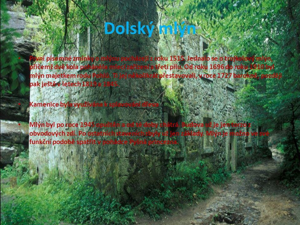 Dolský mlýn První písemné zmínky o mlýnu pocházejí z roku 1515. Jednalo se o trojkolový mlýn, přičemž dvě kola poháněla mlecí zařízení a třetí pilu. O