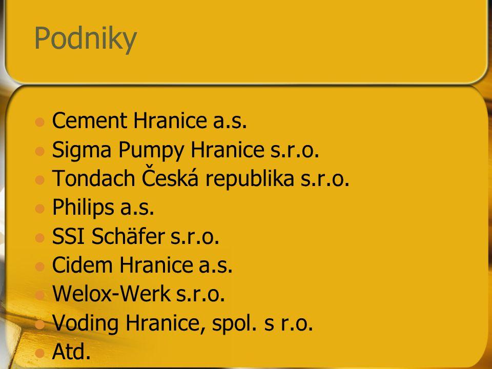 Podniky Cement Hranice a.s. Sigma Pumpy Hranice s.r.o. Tondach Česká republika s.r.o. Philips a.s. SSI Schäfer s.r.o. Cidem Hranice a.s. Welox-Werk s.