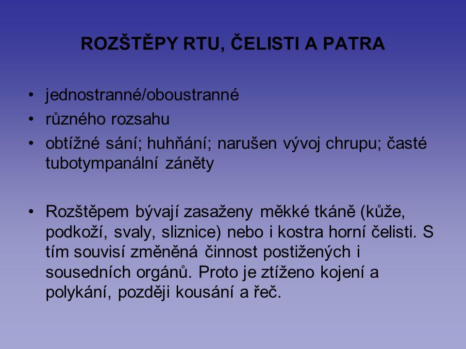 ROZŠTĚPY RTU, ČELISTI A PATRA jednostranné/oboustranné různého rozsahu obtížné sání; huhňání; narušen vývoj chrupu; časté tubotympanální záněty Rozště