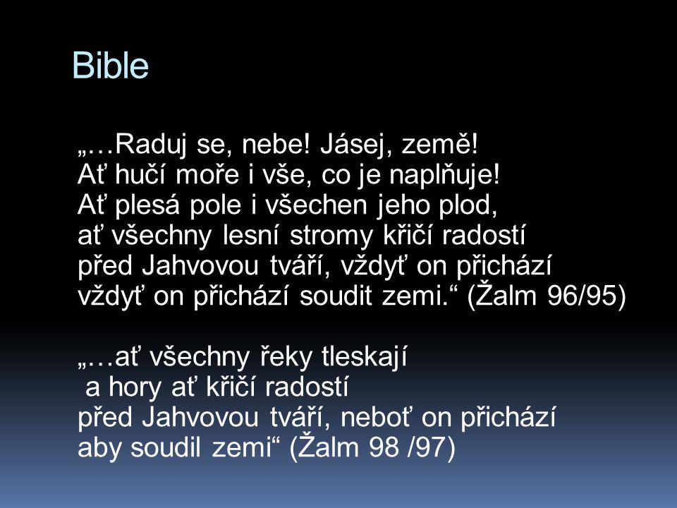 """Bible """"…Raduj se, nebe! Jásej, země! Ať hučí moře i vše, co je naplňuje! Ať plesá pole i všechen jeho plod, ať všechny lesní stromy křičí radostí před"""