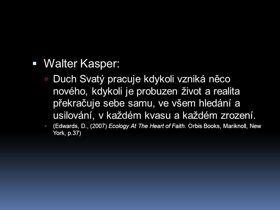  Walter Kasper:  Duch Svatý pracuje kdykoli vzniká něco nového, kdykoli je probuzen život a realita překračuje sebe samu, ve všem hledání a usilován