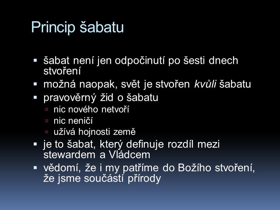 Princip šabatu  šabat není jen odpočinutí po šesti dnech stvoření  možná naopak, svět je stvořen kvůli šabatu  pravověrný žid o šabatu  nic nového