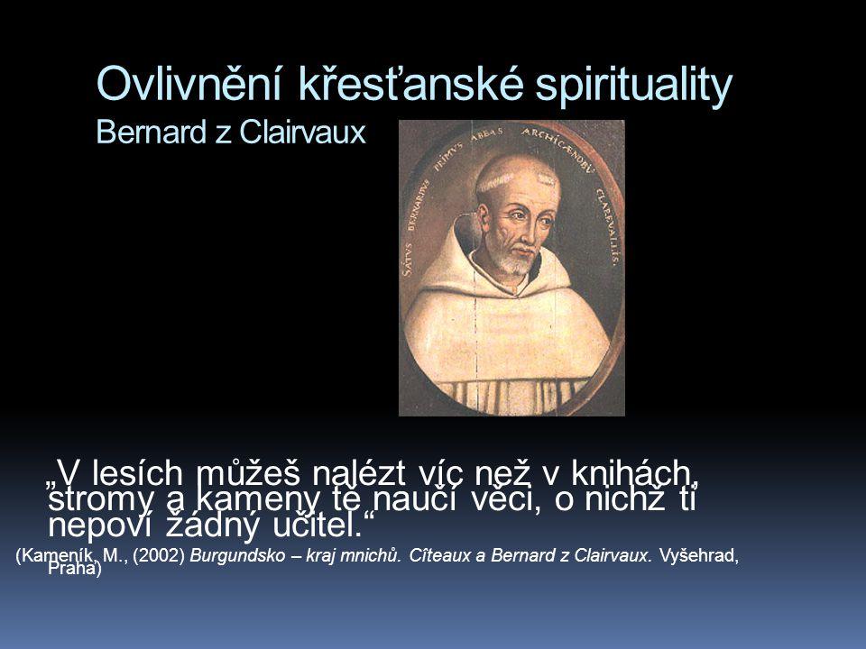 """Ovlivnění křesťanské spirituality Bernard z Clairvaux """"V lesích můžeš nalézt víc než v knihách, stromy a kameny tě naučí věci, o nichž ti nepoví žádný"""