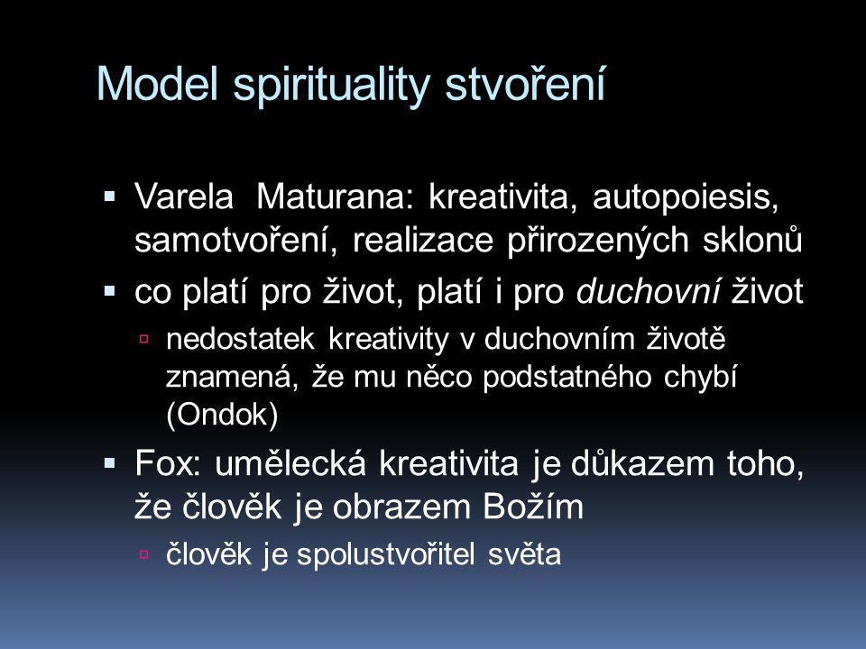Model spirituality stvoření  Varela Maturana: kreativita, autopoiesis, samotvoření, realizace přirozených sklonů  co platí pro život, platí i pro du