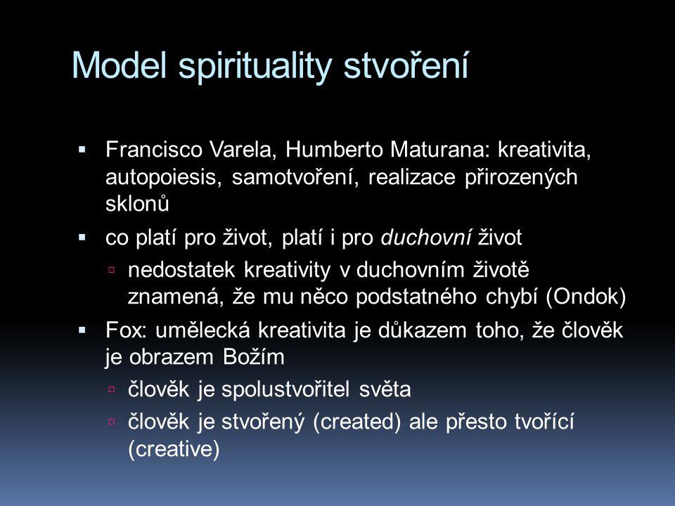 Model spirituality stvoření  Francisco Varela, Humberto Maturana: kreativita, autopoiesis, samotvoření, realizace přirozených sklonů  co platí pro ž