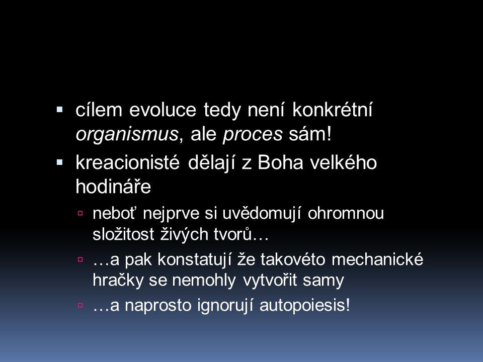  cílem evoluce tedy není konkrétní organismus, ale proces sám!  kreacionisté dělají z Boha velkého hodináře  neboť nejprve si uvědomují ohromnou sl
