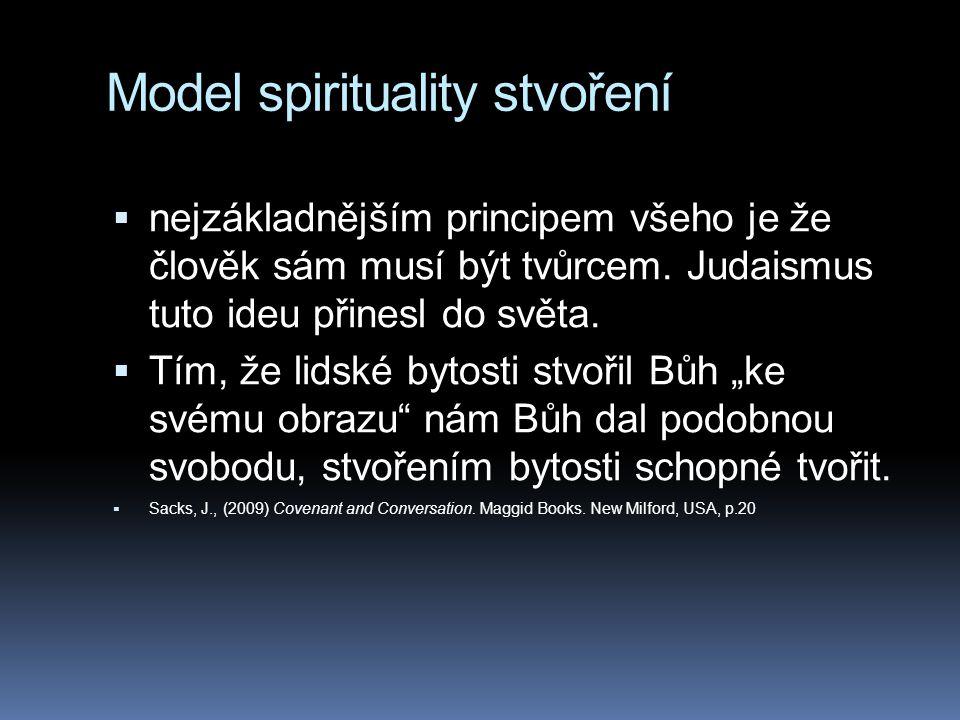 Model spirituality stvoření  nejzákladnějším principem všeho je že člověk sám musí být tvůrcem. Judaismus tuto ideu přinesl do světa.  Tím, že lidsk