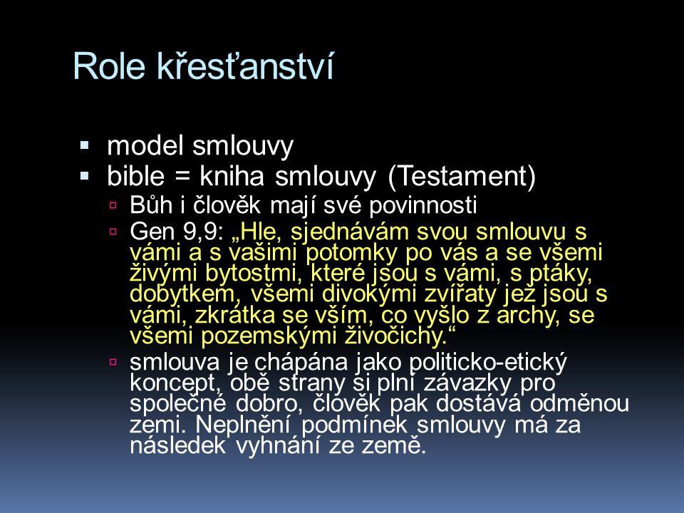 """Role křesťanství  model smlouvy  bible = kniha smlouvy (Testament)  Bůh i člověk mají své povinnosti  Gen 9,9: """"Hle, sjednávám svou smlouvu s vámi"""