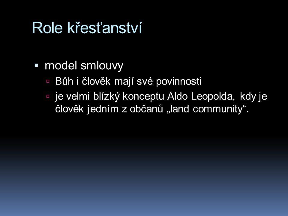 """Role křesťanství  model smlouvy  Bůh i člověk mají své povinnosti  je velmi blízký konceptu Aldo Leopolda, kdy je člověk jedním z občanů """"land comm"""