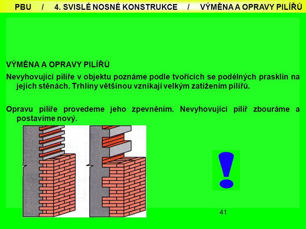 41 VÝMĚNA A OPRAVY PILÍŘŮ Nevyhovující pilíře v objektu poznáme podle tvořících se podélných prasklin na jejich stěnách. Trhliny většinou vznikají vel