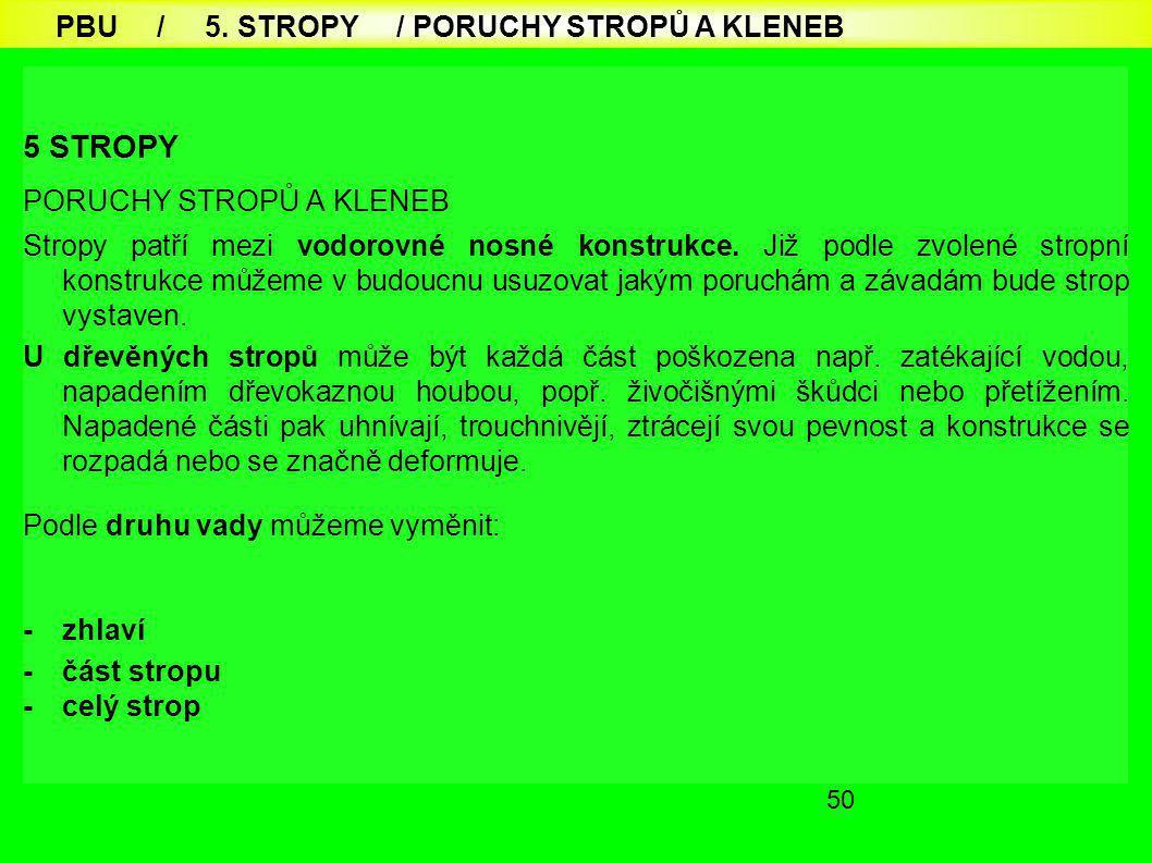 50 5 STROPY PORUCHY STROPŮ A KLENEB Stropy patří mezi vodorovné nosné konstrukce.
