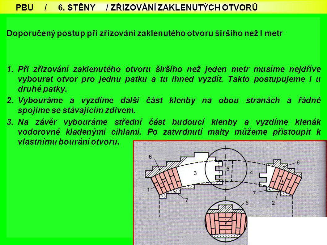 71 Doporučený postup při zřizování zaklenutého otvoru širšího než l metr 1.Při zřizování zaklenutého otvoru širšího než jeden metr musíme nejdříve vyb