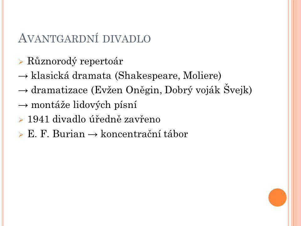 A VANTGARDNÍ DIVADLO  Různorodý repertoár → klasická dramata (Shakespeare, Moliere) → dramatizace (Evžen Oněgin, Dobrý voják Švejk) → montáže lidovýc