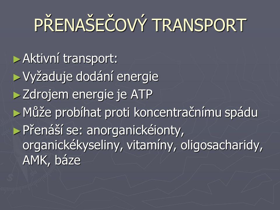 PŘENAŠEČOVÝ TRANSPORT ► Aktivní transport: ► Vyžaduje dodání energie ► Zdrojem energie je ATP ► Může probíhat proti koncentračnímu spádu ► Přenáší se: anorganickéionty, organickékyseliny, vitamíny, oligosacharidy, AMK, báze