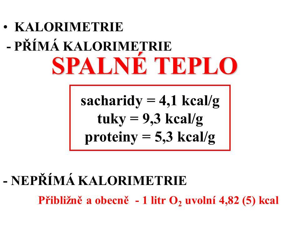 KALORIMETRIE - PŘÍMÁ KALORIMETRIE - NEPŘÍMÁ KALORIMETRIE sacharidy = 4,1 kcal/g tuky = 9,3 kcal/g proteiny = 5,3 kcal/g SPALNÉ TEPLO Přibližně a obecně - 1 litr O 2 uvolní 4,82 (5) kcal