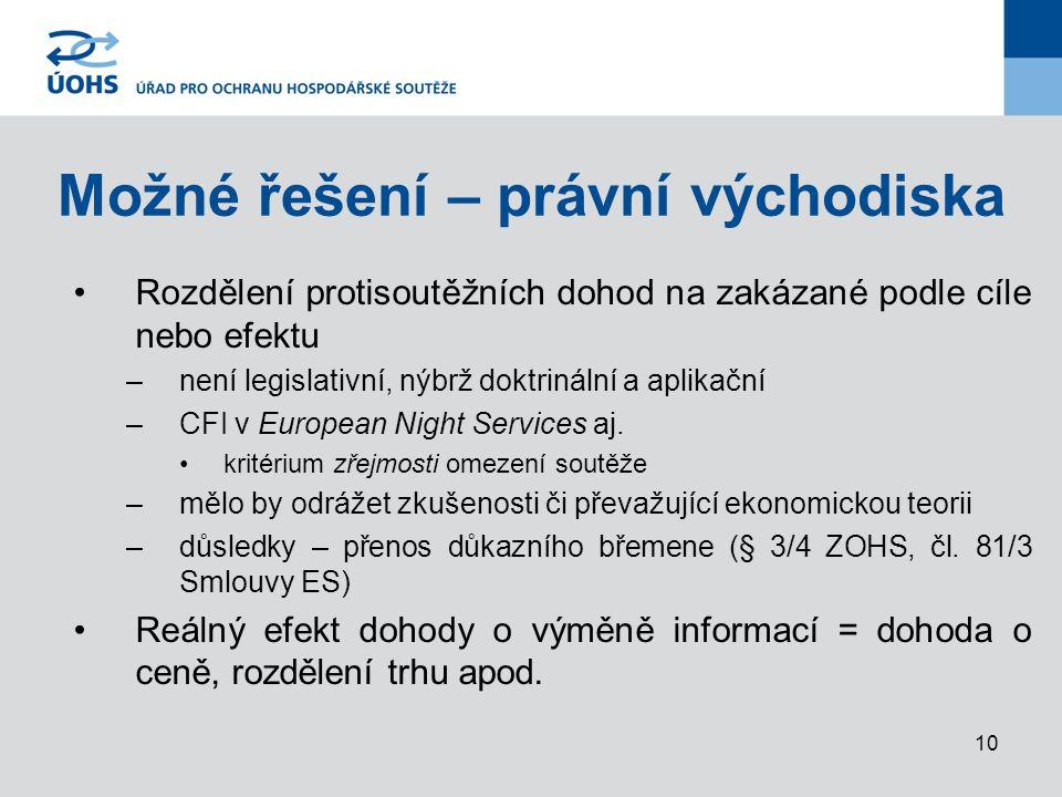 10 Možné řešení – právní východiska Rozdělení protisoutěžních dohod na zakázané podle cíle nebo efektu –není legislativní, nýbrž doktrinální a aplikační –CFI v European Night Services aj.