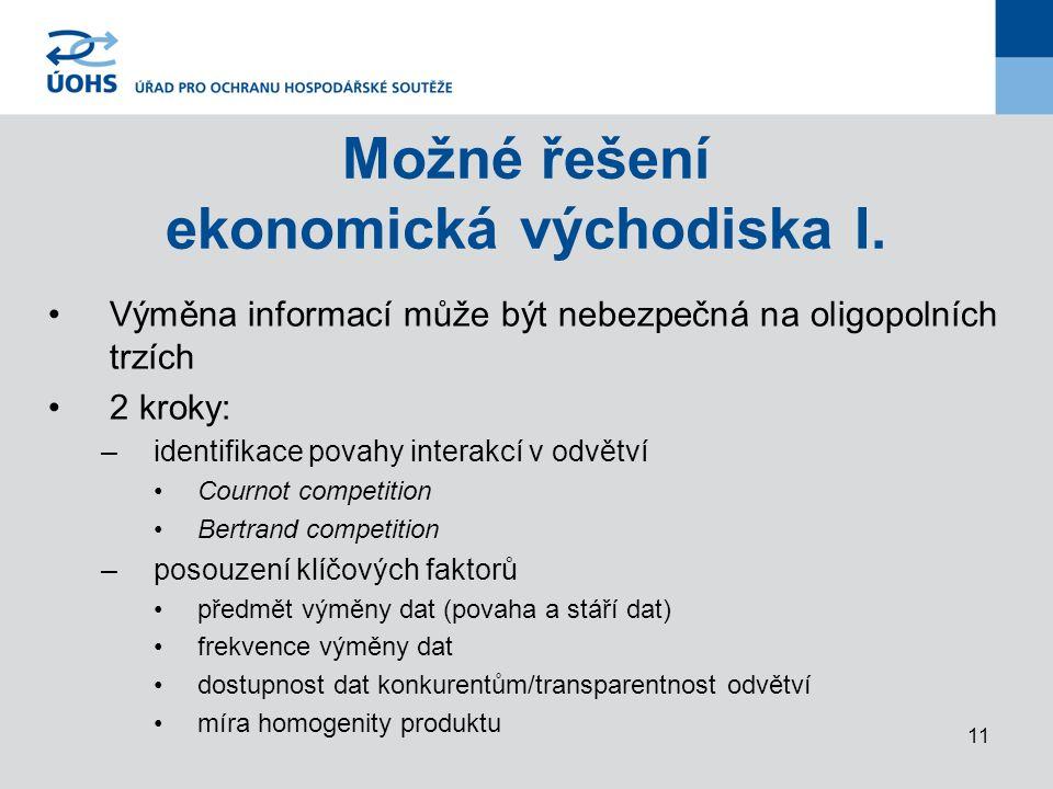 11 Možné řešení ekonomická východiska I.