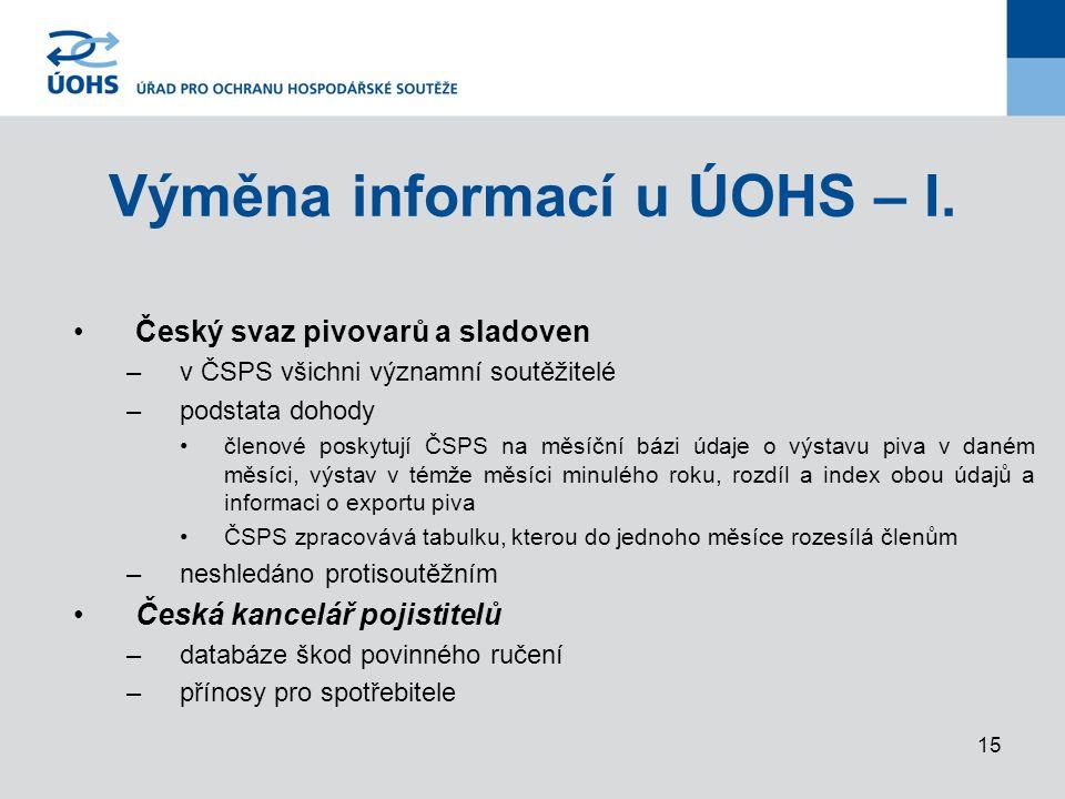 15 Výměna informací u ÚOHS – I.
