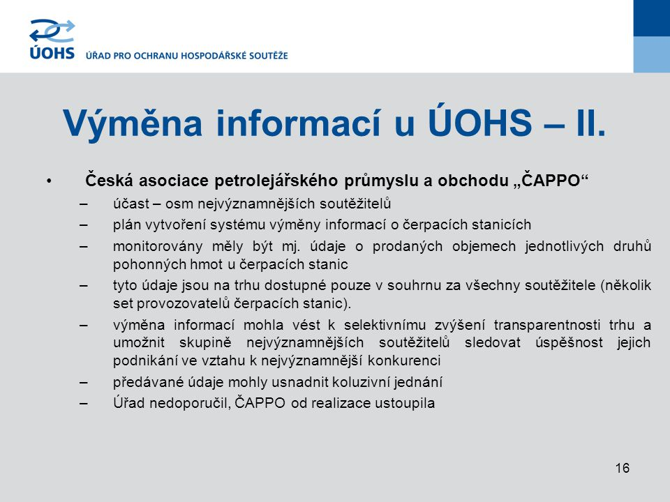 16 Výměna informací u ÚOHS – II.