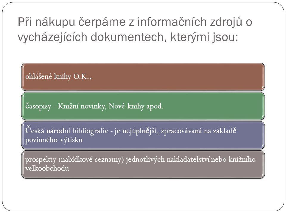 Při nákupu čerpáme z informačních zdrojů o vycházejících dokumentech, kterými jsou: ohlášené knihy O.K., č asopisy - Knižní novinky, Nové knihy apod.